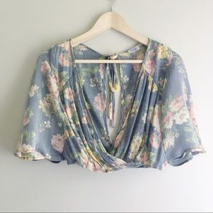 Tobi Floral Wrap Crop Top